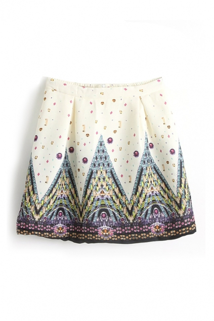 Beige Retro High Waist Church Print Skirt , Best fashion online store - FOYMALL
