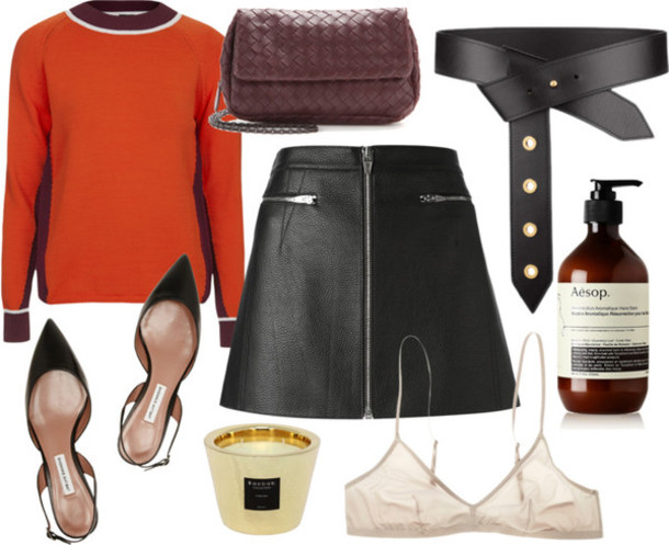 camille over the rainbow blogger bag belt underwear leather skirt outfit bra candle jumper orange zipped skirt