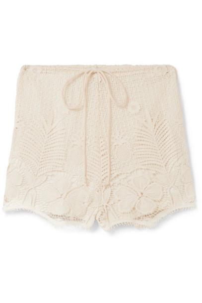 shorts lace shorts lace cotton beige