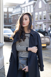 tlnique,blogger,hairstyles,stripes,pouch,trench coat,coat
