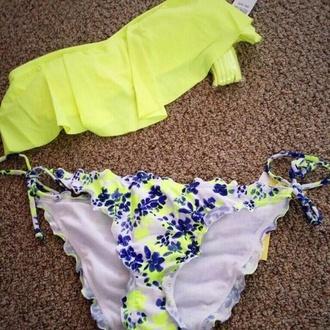 swimwear bikini floral flowered bikini floral bikini blue bikini blue swimwear yellow swimwear yellow bikini yellow blue flowers