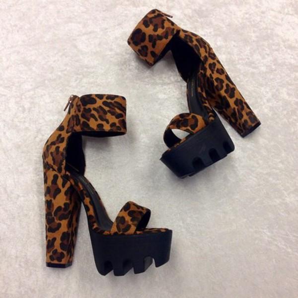 Lug Be A Lady Chunky Ankle Cuff Heels COGNAC LEOPARD BLACK