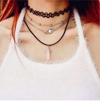 jewels tattoo choker crystal choker crystal necklaces white crystal necklace pretty beautiful grunge hipster love jewelry necklace layered choker necklace grunge jewelry