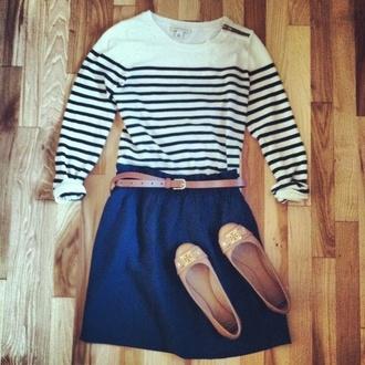 blouse navy sailor belt stripes baige skirt tumblr pinterest high waisted