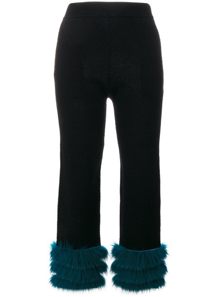 fur fox women jacquard black pants