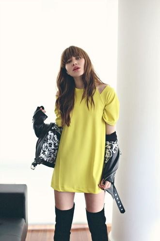 natalie off duty blogger yellow dress leather jacket