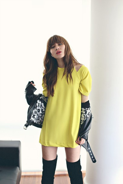 natalie off duty blogger yellow dress leather jacket mustard dress mini dress over the knee boots over the knee