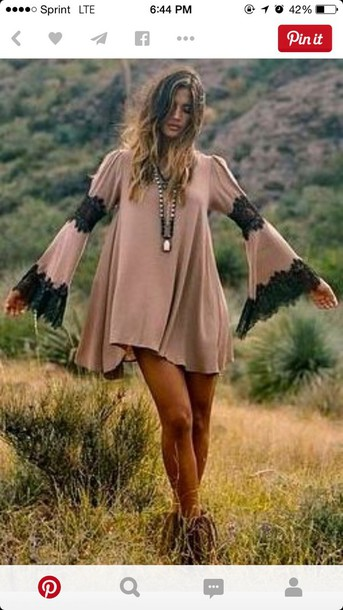 dress boho bohemian dress gypsy dress lace dress cute dress