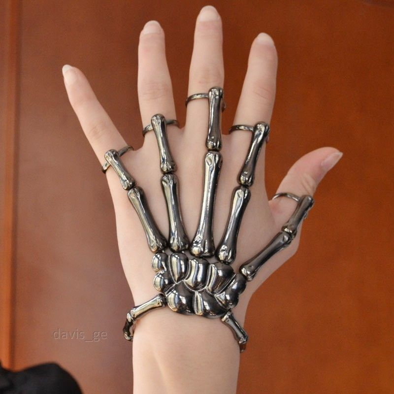 Fashion Style Halloween Hand Skeleton Elastic Bracelet Bangle   Rings RCH Cool!