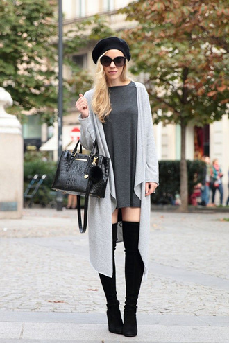 shoes grey dress white cardigan black over knee boots black beret blogger sunglasses