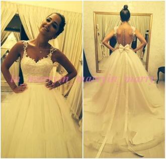 dress ball gown wedding dresses vintage lace wedding dress princess wedding dresses bow dress white wedding dress ivory wedding dress