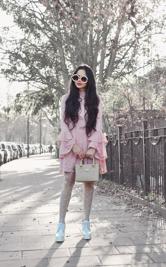 zebratrash blogger dress tights coat jewels bag sunglasses shoes pink dress mini dress valentines day polka dots polka dot tights white sunglasses date outfit date dress