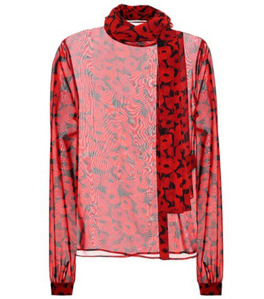 Saint Laurent blouse silk red top