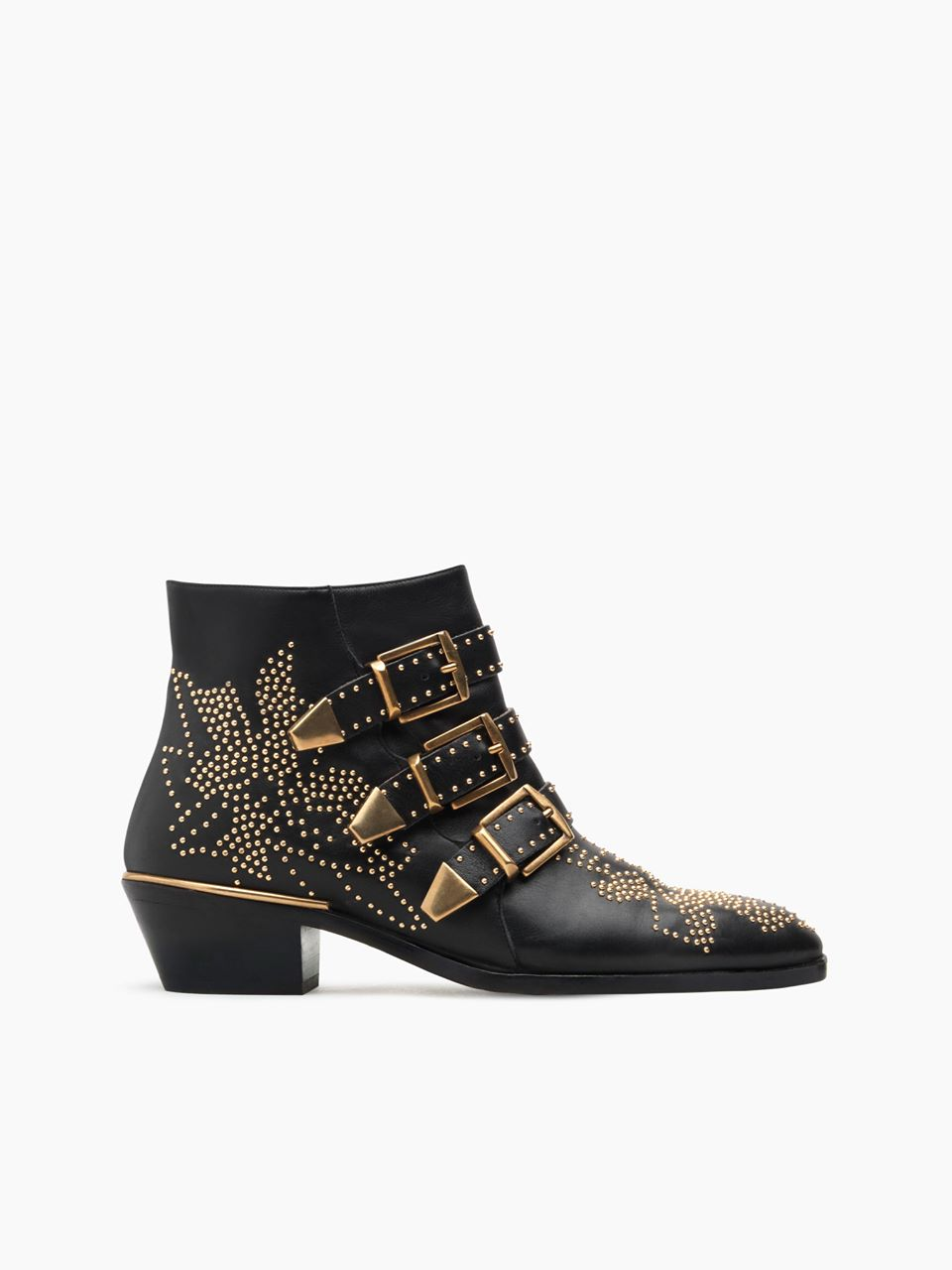 CHLOÉ Susanna short boot Women's Black Gold 100% Sheepskin
