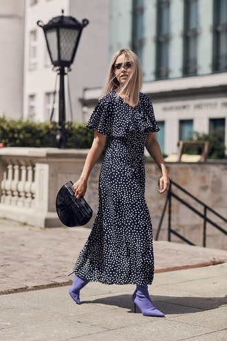 dress tumblr maxi dress polka dots long dress boots sock boots bag handbag shoes sunglasses