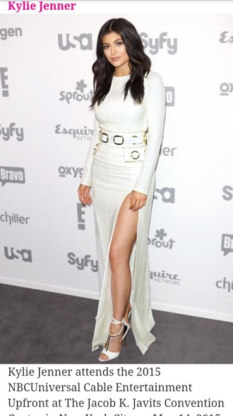 dress kylie jenner long sleeves slit dress belt shoes