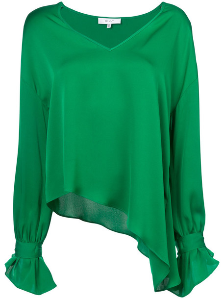 MILLY blouse asymmetrical women spandex silk green top