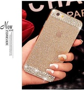 phone cover,gold,silver,rhinestones,iphone 6 case