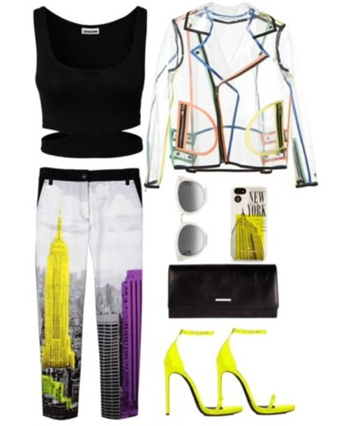 pants neon jacket transparent crop tops shoes new york city spring