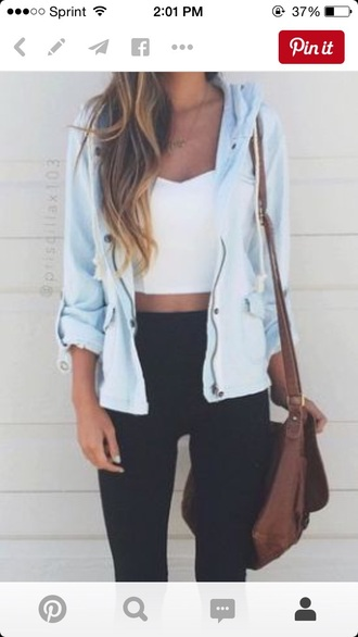 jacket white crop tops
