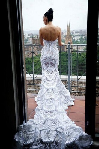 dress lace dress long dress white wedding dress train dress gown wedding backless backless wedding dress white dress