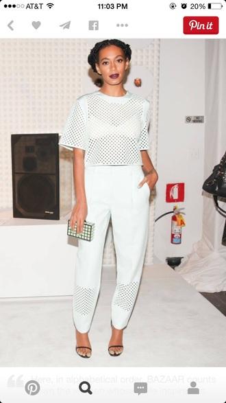 top all white outfit all white white white top white pants mesh mesh top mesh pants