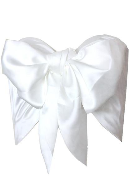 Premium ivory silk bow bandeau top