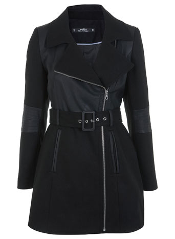 Petites Faux Leather Coat - Miss Selfridge