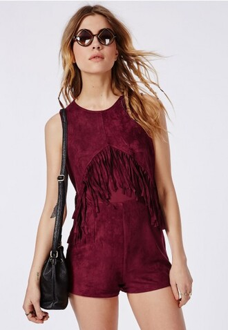 jumpsuit red country western top western fringes vine summer exclusive fashion blog design suede fall colors