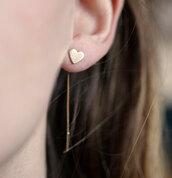 jewels,gold heart studs