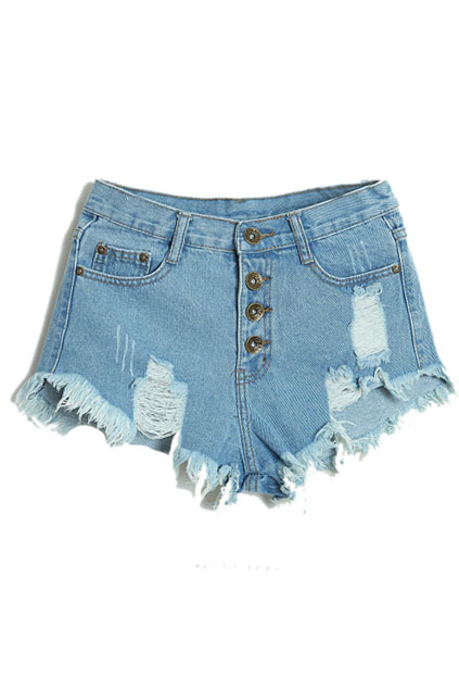 ROMWE | Distressed Buttoned Light-blue Shorts, The Latest Street Fashion