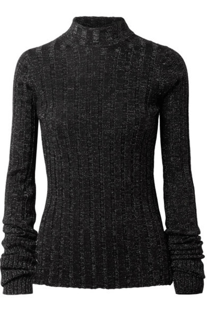 theory sweater turtleneck turtleneck sweater metallic black wool