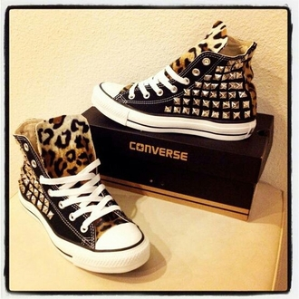 shoes converse studs leopard print tongue dope high top sneakers