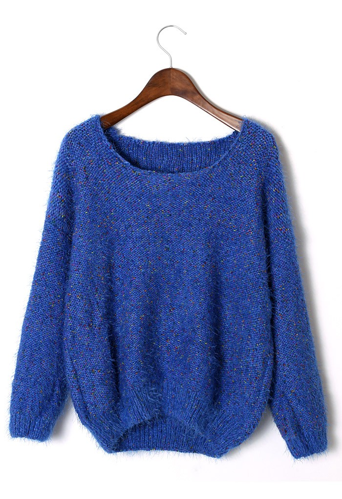 Sweater - Blue Fluffy Long Sleeve Sweater | UsTrendy