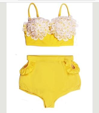 swimwear yellow swimwear lace top high waisted bikini