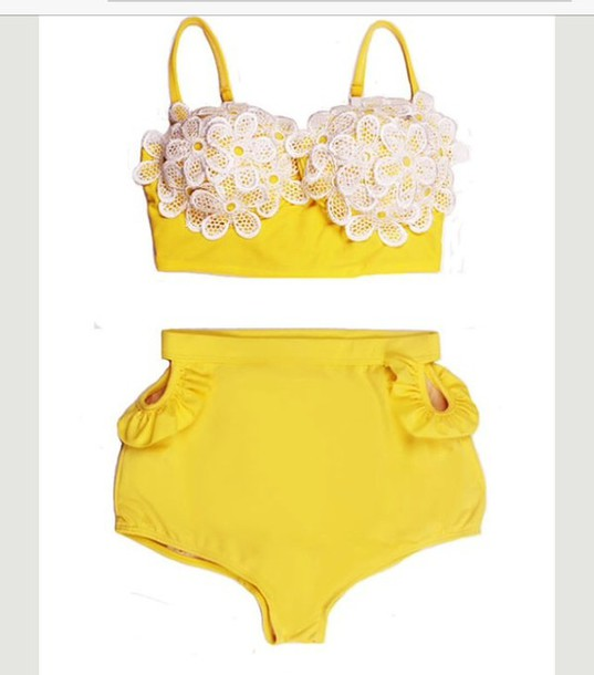 swimwear yellow swimwear lace top high waisted bikini