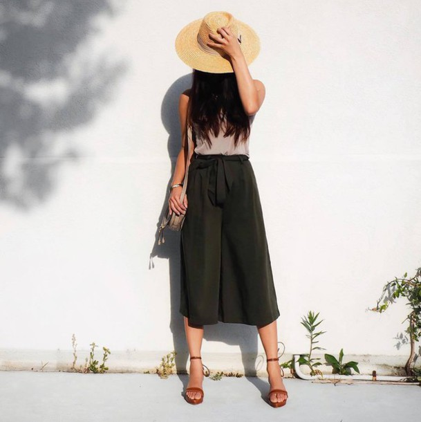 behind seams blogger tank top shoes hat bag wide-leg pants green white top pink top straw hat shoulder bag mini bag sandals sandal heels