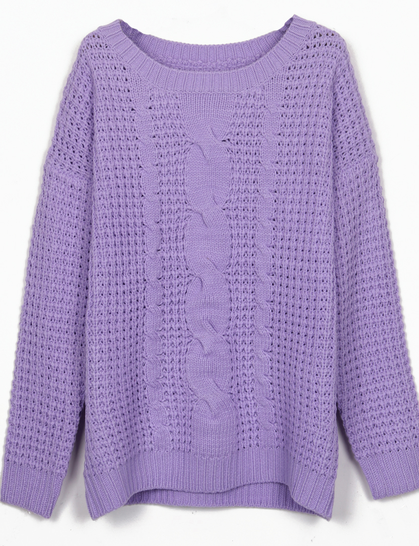 Purple Round Neck Cable Knitting Jumper Sweater - Sheinside.com