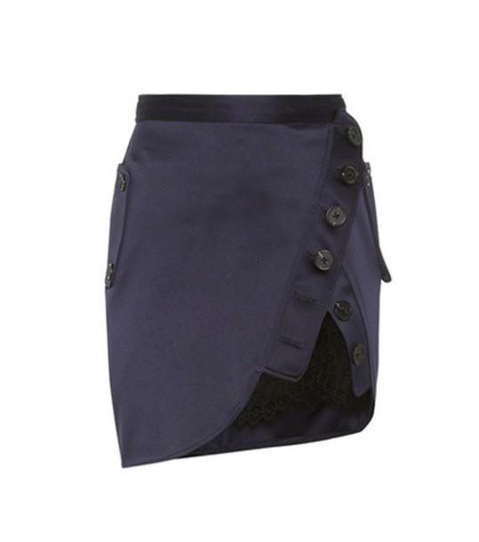 self-portrait miniskirt satin blue skirt