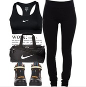 shoes,nikes,black nikes,sneakers,nike,nike bag,black shoes,leggings,black,nike sportswear,nike sports bra,sports bra,black leggings,workout,workout top,clothes,pants,top,bag,lounge wear,outfit,outfit idea