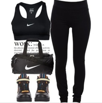 shoes nikes black nikes sneakers nike nike bag black shoes leggings black nike sportswear nike sports bra sports bra black leggings workout workout top workout clothes clothes pants top bag lounge wear outfit outfits outfit idea polyvore clothes red lime sunday