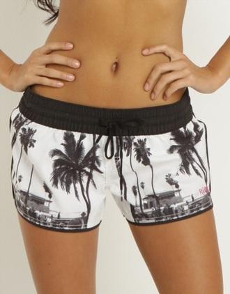 shorts ripcurl billabong palm tree print palm tree white black black and white