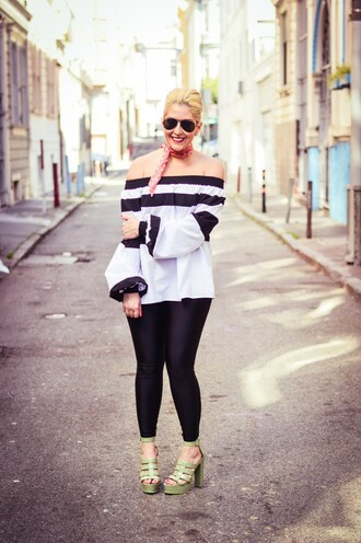 katwalksf blogger top pants shoes striped off shoulder top off the shoulder off the shoulder top strappy striped top scarf bandana aviator sunglasses sunglasses leggings black leggings sandals thick heel sandal heels high heel sandals green sandals curvy