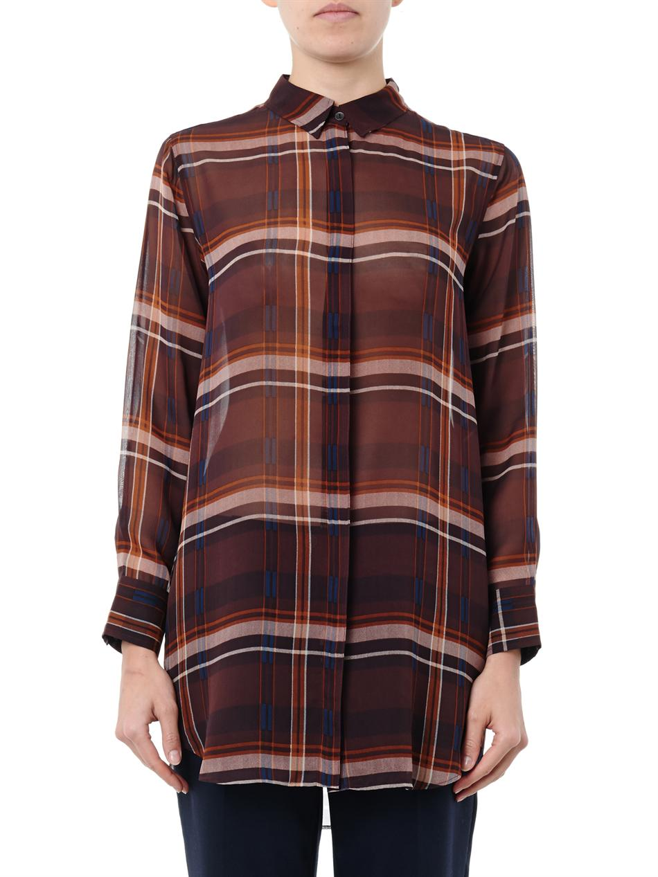 The oversized check silk shirt