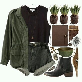t-shirt hipster summer girl black green army green jacket crop tops short shorts short shoes blouse shorts denim