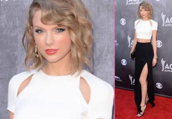 dress taylor swift skirt white crop top crop tops white crop top black skirt black slit skirt slit country music awards, red carpet