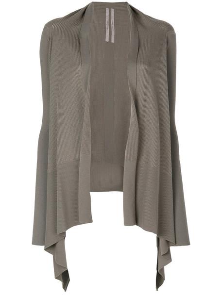Rick Owens - knit draped open cardigan - women - Virgin Wool - S, Grey, Virgin Wool