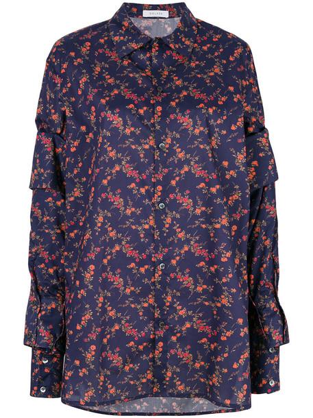 Delada shirt floral shirt women layered floral cotton blue top