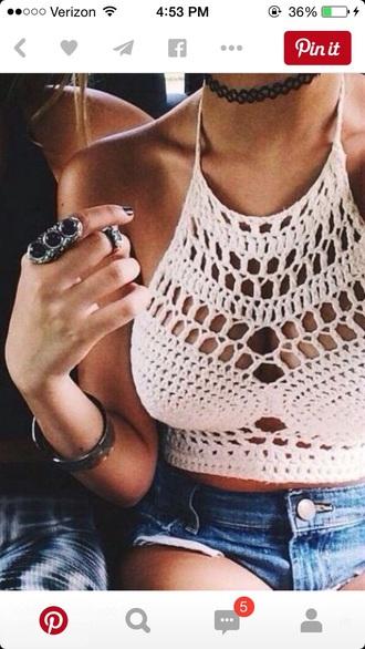 top crop tops white crop tops crochet boho chic boho shirt beach tumblr shirt tumblr