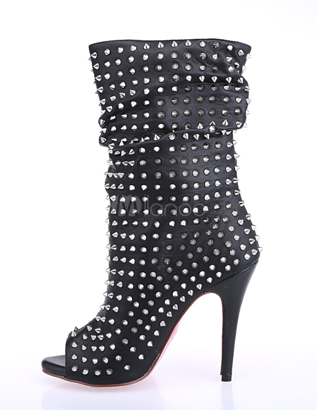 Fashion black peep toe studded pu leather women's mid calf boots